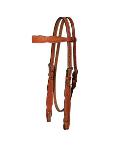 Shaped Basketweave Browband Headstall